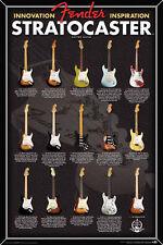 Fender Stratocaster Evolution Music Poster Print Strat Guitar, New, 24x36 B10