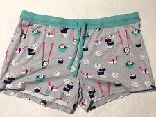 NWT Nite Nite Munki Munki XL Gray Aqua Sushi Pj Pajama Lounge Shorts