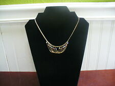 "Vintage Goldtone Metal & Tiny Glass Bead Swag 15.75"" Fine Link Chain Necklace"