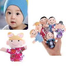 6pc/set Kids BOY GIRL Family Plush Early Learn Story Finger Puppets Toys