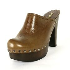 PRADA Brown Vitello Shine Leather & Wood Platform Mules Clogs 39