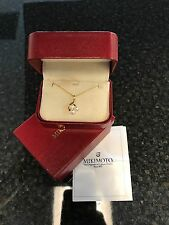 Beautiful Mikimoto Necklace With Three Pearl Cluster Pendant 18k