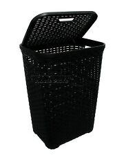 Nero 60l LITRI intrecciato stile rattan cesto biancheria in plastica contenitore scatola regalo