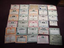 """A"" COLLECTION OF 30 SHARE CERTIFICATES RAILWAY TRAIN MOTORS OIL BANKING"