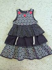 Cakewalk Girls 122 128 7 8 Dark Gray White Red Flower Tiered Ruffle Dress
