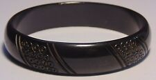 Vintage Black Carved Circle Pattern Design Bakelite Bangle Bracelet Simi Tested