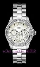 AUTHENTIC GUESS LADIES' SHIMMER WATCH SILVER TONE RRP:$449 W0632L1 Brand New