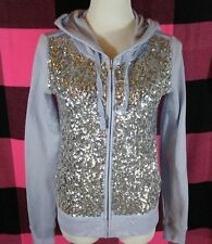 Victoria's Secret PINK Fashion Show Silver Sequin Bling Lavender Hoodie Small