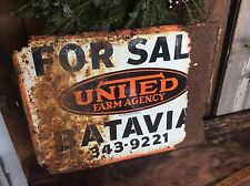 Vintage United Farm Agency , For Sale Sign, Batavia N.Y., Shabby Metal Sign