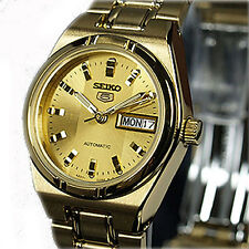 SEIKO 5 Automatic Latest Champagne Two Tone Gold Face Ladies Day Date SYM600K1