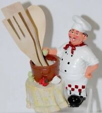Fat Bistro Chef Serving Holding Wooden Spoons Resin Kitchen Figurine Statue- New