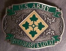Military Belt Buckle Pewter 4th Fourth Infantry emblem NEW - MADE IN THE U.S.A.