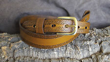 Handmade cobra style leather rifle sling, Wide Celtic border
