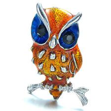 Fashion Jewelry Retro Brooch Orange Blue eyes Crystal Enamel Owl Pins Xmas Gift