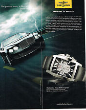 PUBLICITE ADVERTISING 075  2009  BREITLING  montre BENTLEY FLYING B CHRONOGRAPH
