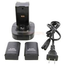 Newest Plastic 2x4800mAh Battery Pack Charger Fast with Cable for Xbox 360 Black