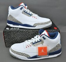 AIR JORDAN 3 III RETRO OG 854262-106 TRUE BLUE IN HAND WHITE FIRE RED SIZE: 9.5