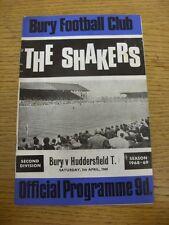 05/04/1969 Bury V Huddersfield Town (piega, punteggio annotate nell'COPERCHIO E LUCE MARKI
