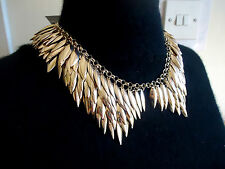 NEW £35 PRICE TAG FCUK FRENCH CONNECTION GOLD COLLAR COSTUME JEWELLERY NECKLACE.
