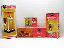 Vintage Pedigree Sindy Bathroom Bundle Shower Bath Toilet Hairdryer Boxed