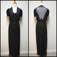 VTG 1930s MILGRIM Custom Hollywood Glamour Beaded Evening Gown w Bolero Jacket