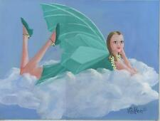 FAIRY ON CLOUDS ART DECO DAISIES GREEN WINGS SHOES DRESS LISTED ARTIST PAINTING