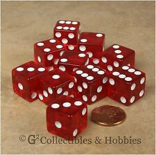 NEW 10 Transparent Red D6 RPG Bunco Gaming Dice Set D6s 16mm 5/8 inch