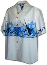 Fighting Marlin Hawaiian Aloha Shirt Pacific Legend Made in Hawaii 440-3747