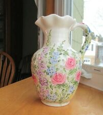 Table Tops Unlimited English Garden Hand Painted Pitcher or Jug by Don Swanson