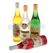 4 Miniature Beer Champagne Wine Bottles Drinks Dollhouse Miniature Pub Bar
