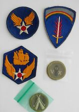 5 Vintage WW II Era Military Patches~~Air Force, Flaming Sword, Odd Assortment