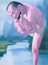"""Art Repro oil painting:""""Yue-Minjun at canvas"""" 24x36 inch"""