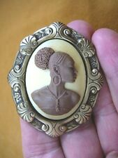(CA20-5) RARE African American LADY brown + ivory oval CAMEO Pin Pendant JEWELRY
