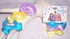 GIRLS INFANT HAIR BOW PONY TAIL RUBBER BANDS :PURPLE-YELLOW-BLUE TURQUOISE LOT 6