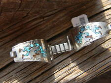 Spectacular sterling silver Navajo ladies turquoise inlaid kokopelli watch band
