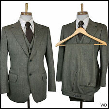 "VINTAGE 1970s 3 PIECE TWEED WOOL HUNTING HACKING SUIT C 38 W 30 L 27 2""EXTRA"
