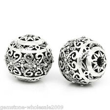 W09 10PCs Hollow Flower Spacer Beads Round Silver Tone 11mm x 10mm