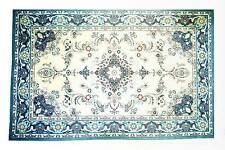 Rug - LG. Blue & White Persian Design Handpainted by LEE Needle Art ~ 10 Mesh