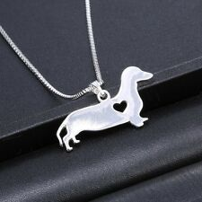 Silver Charm Puppy Pendant Box Chain Lovely Dachshund Dog Unisex  Necklace