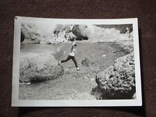 GIRL CAUGHT IN MID JUMP OFF OF A LARGE ROCK VTG 1960's ABSTRACT PHOTO