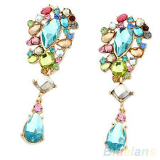 Womens Iridescent Shiny Crystal Dangle Earrings Rhinestone Blue Stone Ear Studs