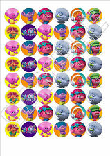 48 x Trolls edible wafer paper fairy cake bun toppers