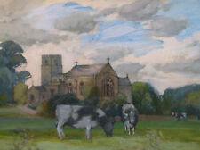 WATERCOLOUR PAINTING by FREDERICK GEORGE WILLS 1901-1993 R.I.COWS NEAR A CHURCH