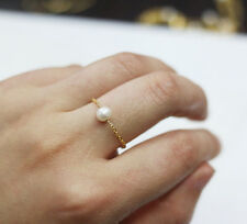 freshwater pearl finger ring handmade jewelry gold plated chain finger jewelry