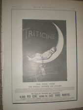 Tricitine baby food child on a crescent moon art advert 1896 Rf S