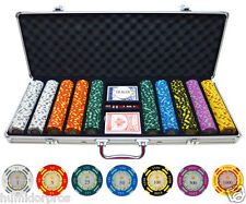 Pro Style Crown Texas Hold 'Em 13.5g 500 pc Clay Poker Chips w/ Case Cards Dice