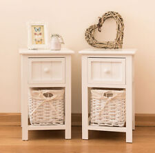 New Pair of Shabby Chic White Bedside Units Tables Drawers with Wicker Storage