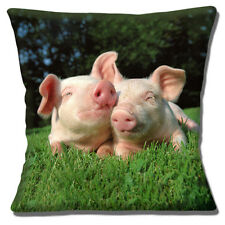 "NEW TWO CUTE PIGLETS CUDDLING ON GRASS PHOTO PRINT 16"" Pillow Cushion Cover"