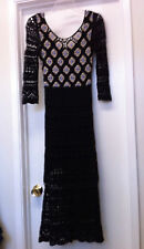 Free People Black Open Knit Crochet Knee Lined Maxi Midi Dress,Sz XS, Worn once