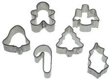 Wilton Baking Christmas Xmas Set 6 Mini Fondant Icing Pastry Cookie Cutters NEW